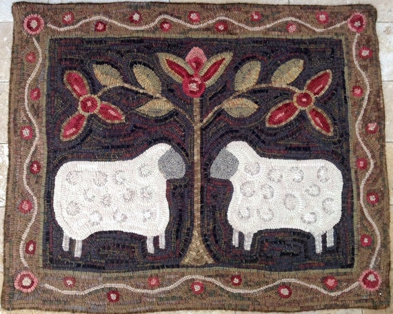 "Rug Hooking PATTERN, Two Sheep, 28"" x 36"", J436, Folk Art Sheep, DIY Primitive Sheep Design, Folk Art Sheep"
