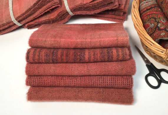 Antique Rose Bundle, 5) fat sixteenths, hand dyed wool for Rug Hooking and Applique, W618, country rose bundle