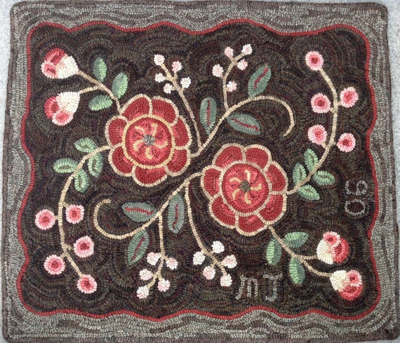 "Rug Hooking PATTERN, Primitive Floral #2, 22"" x 28"", P119, Flowers and Berries, Folk Art Floral, Primitive Rug Hooking"