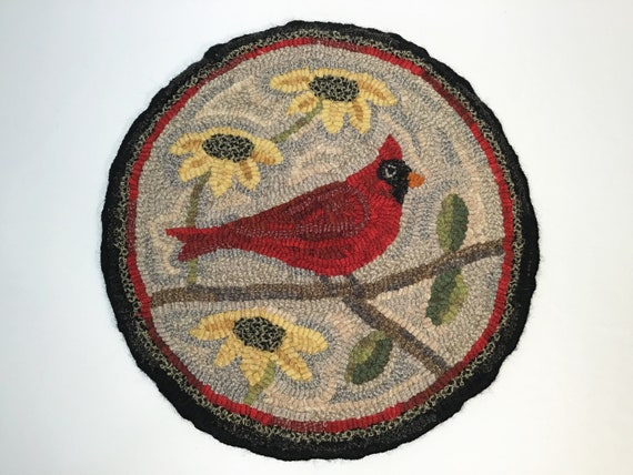 "Rug Hooking PATTERN, Cardinal Chair Pad or Table Mat, 14"" Round, P136, Folk Art Bird, DIY rug hooking, Northern Cardinal"