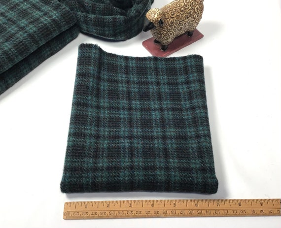 Teal and Black Plaid, a mill dyed Wool Fabric for Rug Hooking and Applique, W535, Teal Wool Plaid