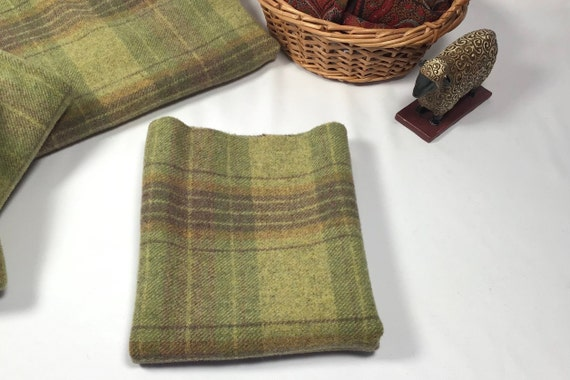 Guacamole Plaid, a mill dyed wool for rug hooking and applique, W603, warm green plaid