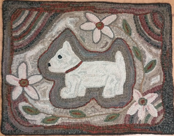 "Rug Hooking PATTERN, ""Daisy the Pup""  21"" x 27"", P108, Primitive, Wide Cut Rug Hooking, Folk Art Dog and Flowers"