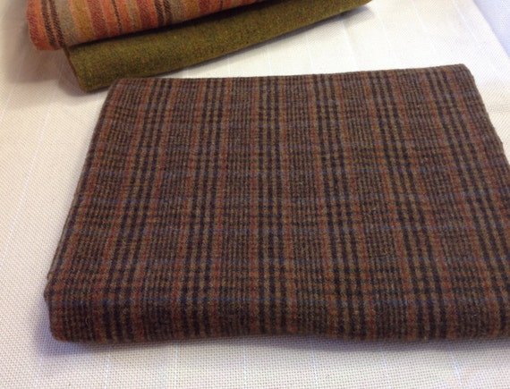 1/4 Yard, Brown Plaid Wool Fabric for Rug Hooking and Appliqué, W150, Deep Brown and Black Plaid with Rust and Blue