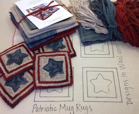Rug Hooking KIT, Patriotic Star Mug Rugs, K113, DIY Patriotic Kit, Americana Coasters