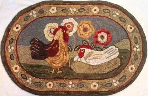 "Rug Hooking PATTERN, Expectations, 22"" x 36"", J745,  Folk Art Chickens Design"