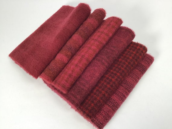 Mulberry Jam Bundle, 6) Fat 1/16ths, hand dyed wool fabric for Rug Hooking and Applique, W607, Cherry Red, Red Plum