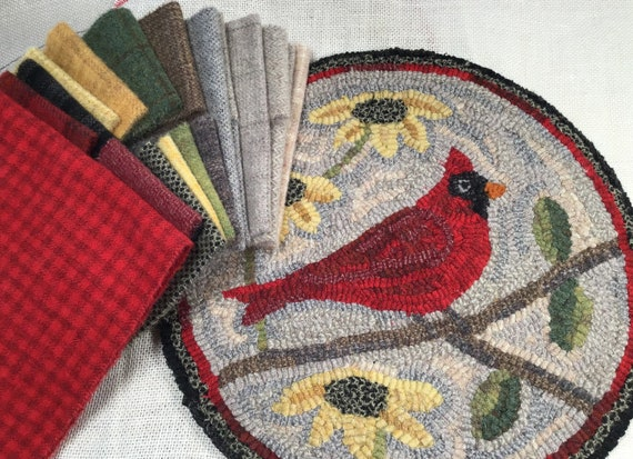 "Rug Hooking KIT, Cardinal Chair Pad or Table Mat 14"" Round, K121, DIY Bird Rug Kit, Northern Cardinal, Bird Folk Art"