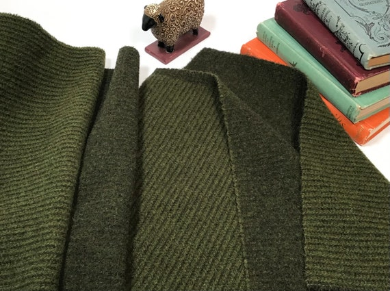Green Giant, a mill dyed wool for Rug Hooking and Appliqué, W542, Dark Green Reversible Wool Fabric