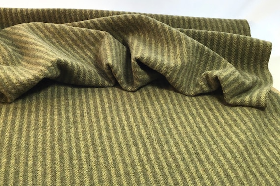 Pea Soup, a mill dyed wool fabric for Rug Hooking and Appliqué, W580, Green Stripe, 1/4 yard or 1/8 yard