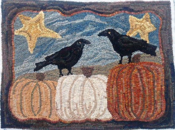 "Rug Hooking Pattern, Two Crows and Three Pumpkins, 18"" x 24"", J962"
