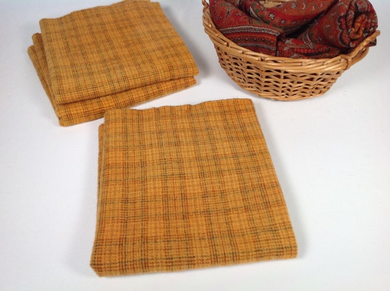 Fat 1/4 yard, Sweet Potato Plaid,  Wool Fabric for Rug Hooking and Appliqué, W481, Pumpkins, Vegetables, Fall & Halloween wool projects