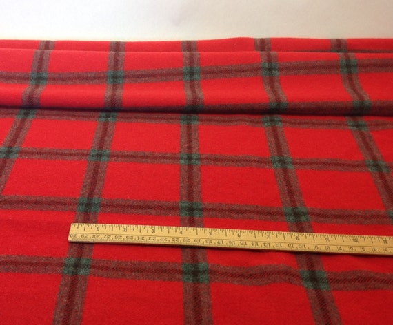 Fat 1/4 yard, Big Red Plaid, Wool Fabric for Rug Hooking and Appliqué, W301, Christmas Red, Bright Red, True Red and Dark Gray