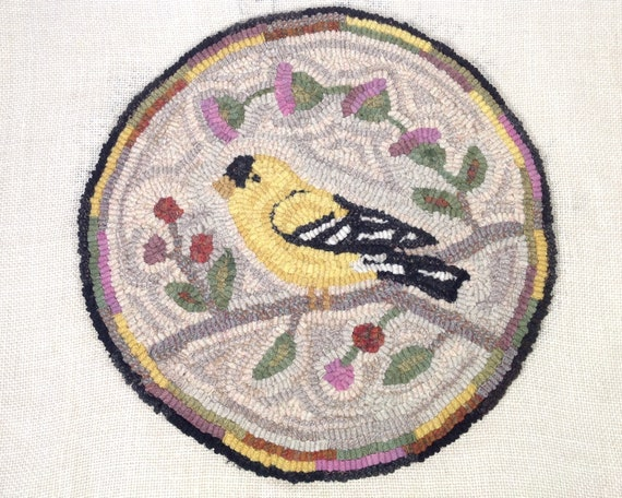"Rug Hooking KIT, Goldfinch Chair Pad or Table Mat 14"" Round, K120, Folk Art Goldfinch, DIY Goldfinch Rug, Bird Folk Art"