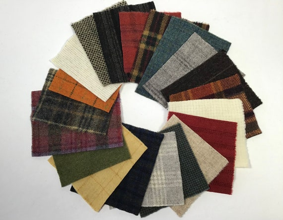 Country Colors Scrap Pack, 20 Wool Pieces for Applique and Craft projects, W555, Penny Rugs, Wool Stitchery