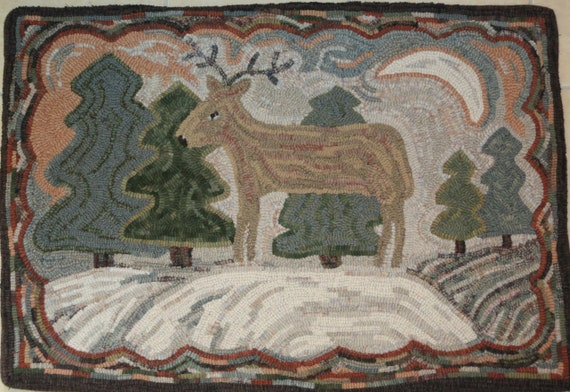 "Rug Hooking PATTERN, Deer in the Pines, 24"" x 36"", P142, Primitive Folk Art Deer, DIY Rug Hooking"