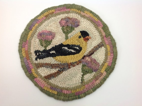 "Rug Hooking PATTERN, Goldfinch Mat, 9"" round, P201, DIY Folk Art Hooked Bird, Yellow Bird"