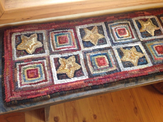 "Rug Hooking PATTERN, Stars and Log Cabins Runner, Geometric Design, 12"" x 47"", J972, Bench Pad, Table Runner"