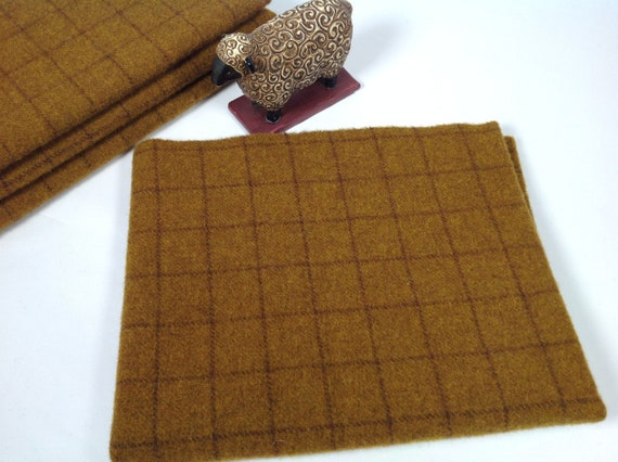 Gold Rush, Mill Dyed Wool Fabric for Rug Hooking and Applique, Select-a-size, W455, Deep Gold Windowpane, Primitive Gold, Rich Gold