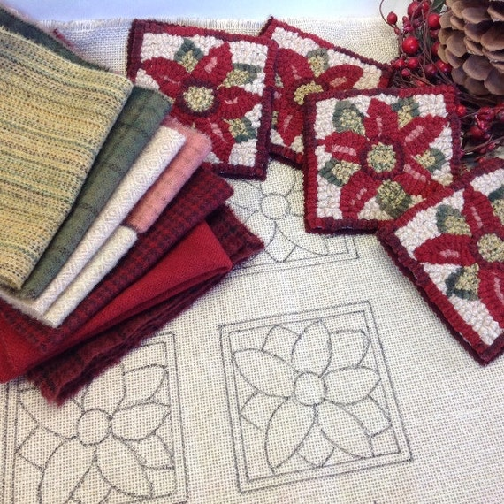Rug Hooking KIT, Poinsettia Mug Rugs, K107, DIY Kit, Wide Cut Rug Hooking Kit