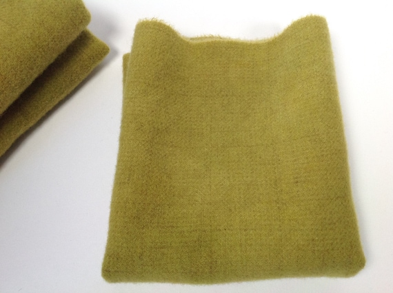 Fat 1/4 yard, Chartreuse Hand Dyed Wool Fabric, W501, Rug Hooking Wool, Applique Wool, Yellow Green Wool Fabric