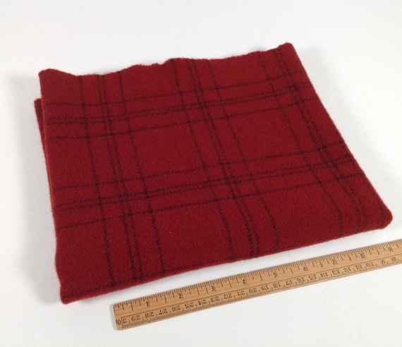 Fat 1/4 yard, Red Velvet, Mill Dyed wool fabric for rug hooking and appliqué, J920, Red and Black Plaid