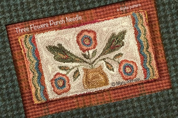 Punch Needle DIGITAL Pattern, Three Flowers Runner by Mary Johnson, Digital Download pdf Pattern