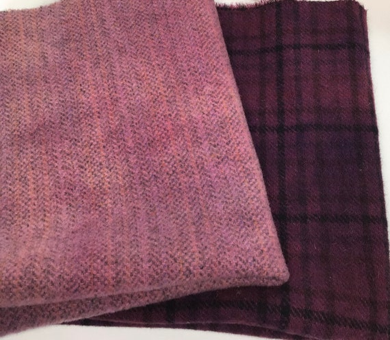 2) Fat Eighths, Purple Pair, Hand Dyed Wool Fabric for Rug Hooking & Applique, W562, Light and dark purple wool pack, Country Purple