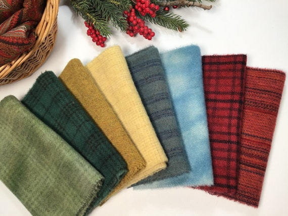 8) 1/16ths, Holiday Cheer Wool Bundle, Hand Dyed Wool Fabric for Rug Hooking and Applique, W564,  Country Christmas wool pack