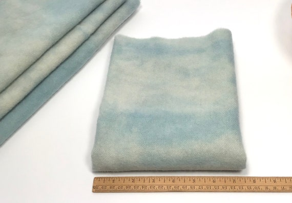 Winter Skies Blue, 1/4 yard, Hand Dyed Wool Fabric for Rug Hooking and Applique, W621, pale blue mottled wool