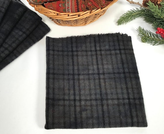 Fat 1/4 yd, Midnight Black, a black plaid, Hand Dyed Wool Fabric for Rug Hooking and Applique, W563, Charcoal Black, Purple Blue Sky Black