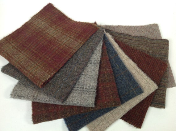 Country Porch, 9) Fat 1/16ths,  Mill Dyed Wool Fabric for Rug Hooking and Applique, W468,  Dusty Blues, Reds, Whites