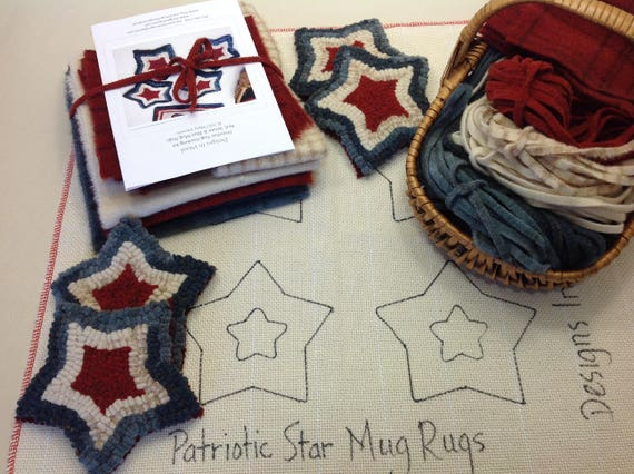 Rug Hooking KIT, Red, White and Blue Mug Rugs, K114, DIY Patriotic Kit, Primitive Rug Hooking, Americana Hooked Stars