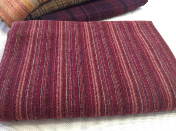 Fat 1/4 yard, Rich Red Stripe,  Wool Fabric for Rug Hooking and Appliqué, W152, Ruby Red, Deep Red, Mill Dyed Wool Fabric