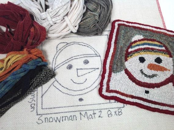 "Rug Hooking KIT, ""Snowman Mat 2"", 8"" x 8"", K122, DIY Primitive Rug Mat, Hooked Trivet Mat, Winter Rug Hooking Project"