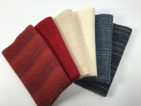 6) Fat 16th yards, Red, White and Blues, Mill Dyed Wool for Rug Hooking and Applique, W577, Patriotic Colors, Flag Colors