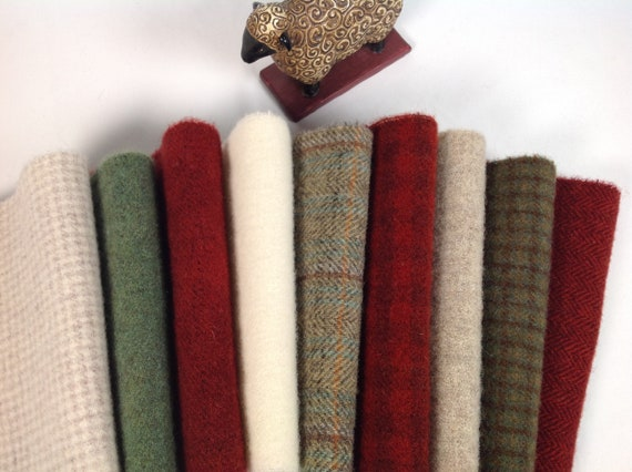 9) fat 1/16ths, Christmas Cheer Wool Pack, for Rug Hooking and Applique, W485, Christmas Colors, Green and White, LAST ONE