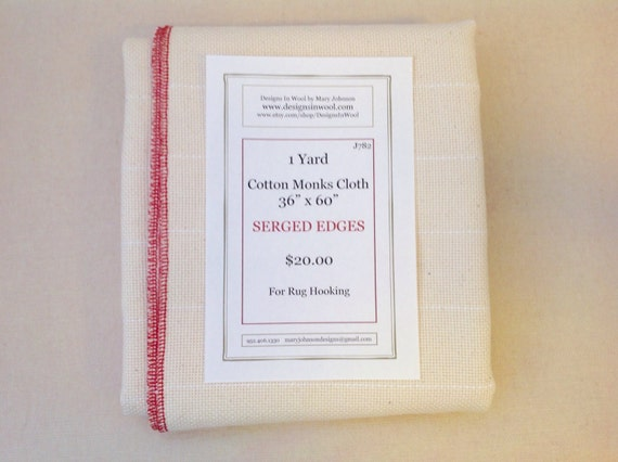 """One Yard Cotton Monks Cloth with Serged Edges, 36"""" x 60"""", J782, Rug Hooking Backing Fabric, Foundation Fabric"""