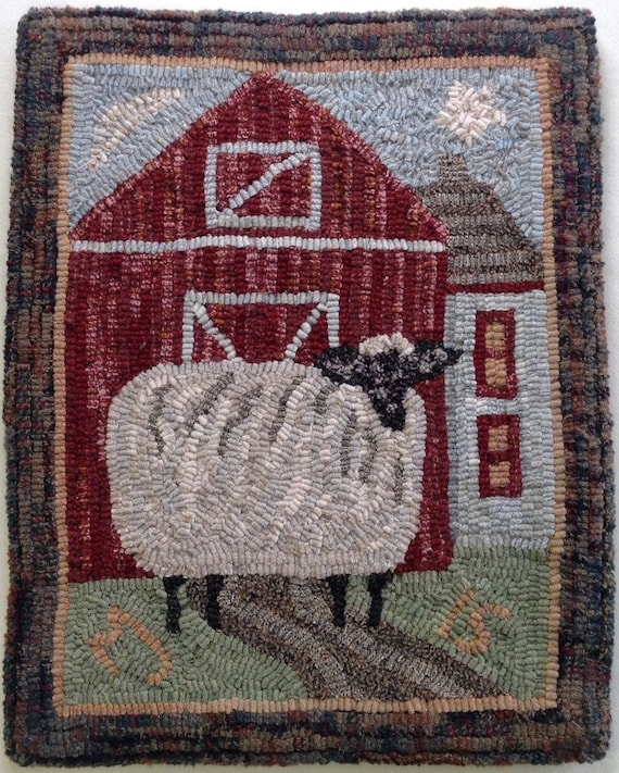"Rug Hooking PATTERN, Annabelle the Wandering Sheep, 14"" x 18"", P107, Primitive Folk Art Sheep Design"