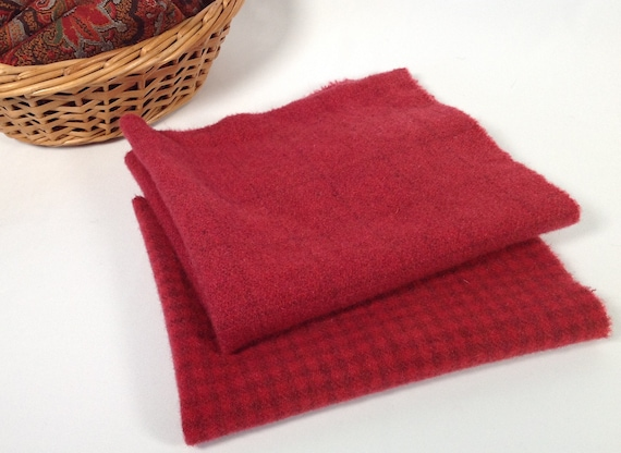 2) Fat 1/8ths, Cherry Reds, Hand Dyed Wool Fabric,  W496, Rose Red, Ruby Red, Wool Fabric for Applique and Rug Hooking