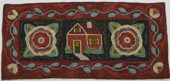 "Rug Hooking Pattern, House and Flowers, 20"" x 42"", J610, Primitive Rug Hooking Design, DIY Folk Art Floral Pattern"