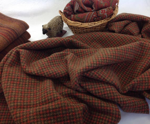 Matilda, a brown and orange check, Mill dyed wool fabric for Rug Hooking and Applique,  W129, Brown and Orange Check, Autumn Colors