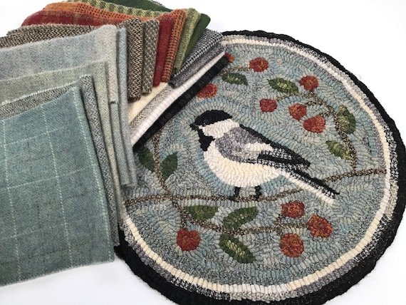 "Rug Hooking KIT, Black Capped Chickadee Chair Pad or Table Mat 14"" Round, K124, DIY Bird Rug Kit, Folk Art Chickadee"