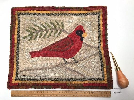 "Rug Hooking PATTERN, Red Cardinal 10"" x 12"", P 213,  Folk Art Bird Design, DIY Primitive Rug Hooking"