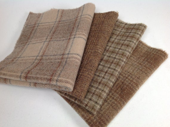 Walnut Shells, 4) Fat Eighths, Mill Dyed Wool Fabric for Rug Hooking and Applique Wool, W478, Neutral Wools, Brown Textures