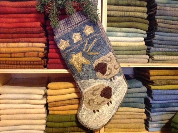 Rug Hooking PATTERN, Two Sheep Stocking, P203, Christmas Hooked Stocking, DIY Primitive Rug Pattern