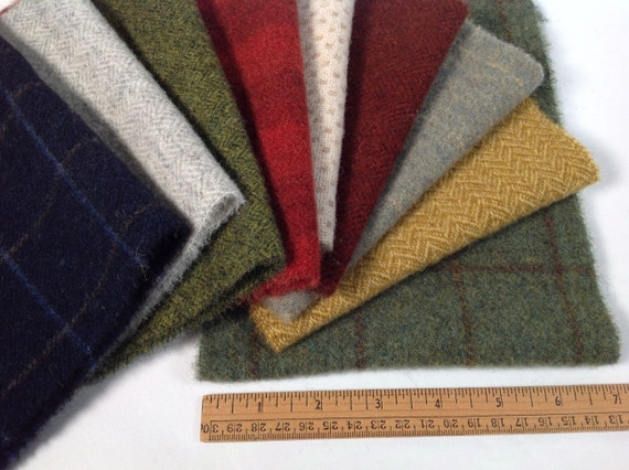 9) Fat Sixteenths, Vintage Farmhouse Wool Pack, Wool Fabric for Rug Hooking and Applique, W486,  Primitive Colors, Country Color Pack