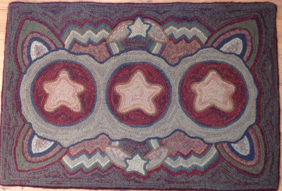 "Rug Hooking PATTERN, Primitive Stars,  24"" x 36"", P106, Primitive Rug Hooking, Wide Cut Rug Hooking, DIY"
