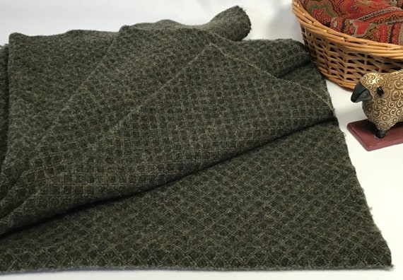 Leaping Lizard, a mill dyed wool fabric for Rug Hooking and Applique, W537, Green and black diamond texture wool