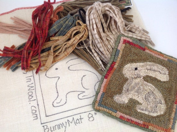 "Rug Hooking KIT, ""Bunny Mat"", 8"" x 8"", J910, DIY Rug Hooking Design, Primitive Wide Cut Rug Hooking, Folk Art Bunny Mat"